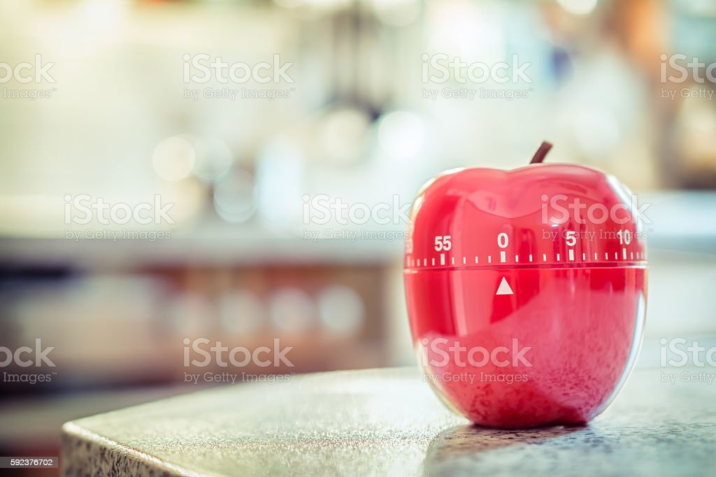 One hour - Red Kitchen Egg Timer In Apple Shape stock photo
