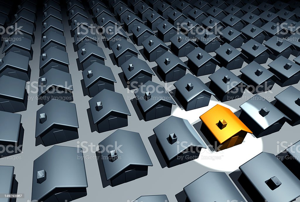 One House Standing Out from Others (XXXL) royalty-free stock photo