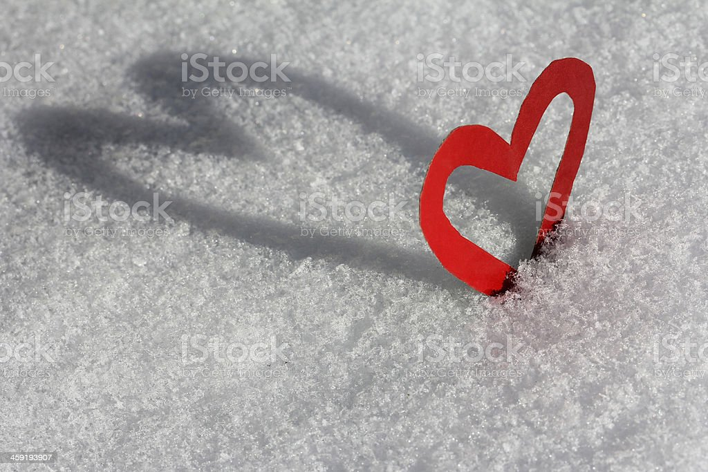 one hug in the snow stock photo