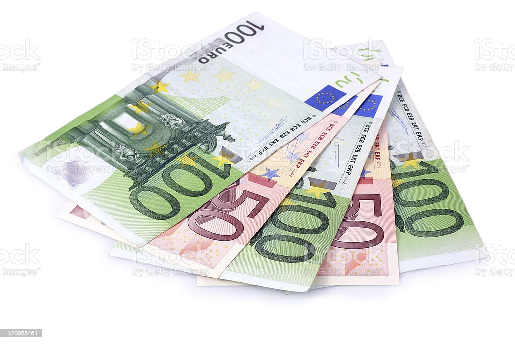 One Hundred and Fifty Euro Banknotes Isolated with Clipping Path stock photo