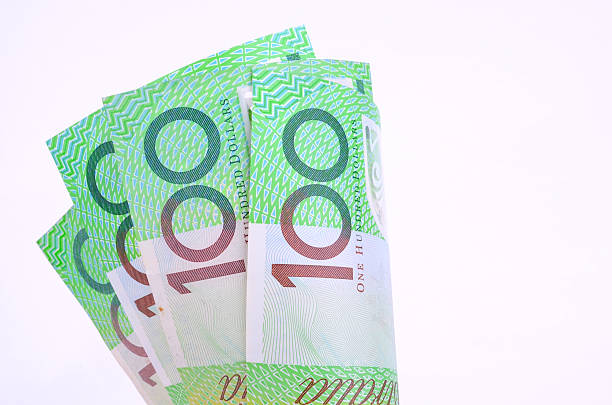 One hundred Australian dollar notes stock photo