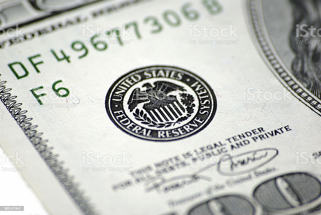 One Hundred Dollar banknote FRS logo close-up royalty-free stock photo