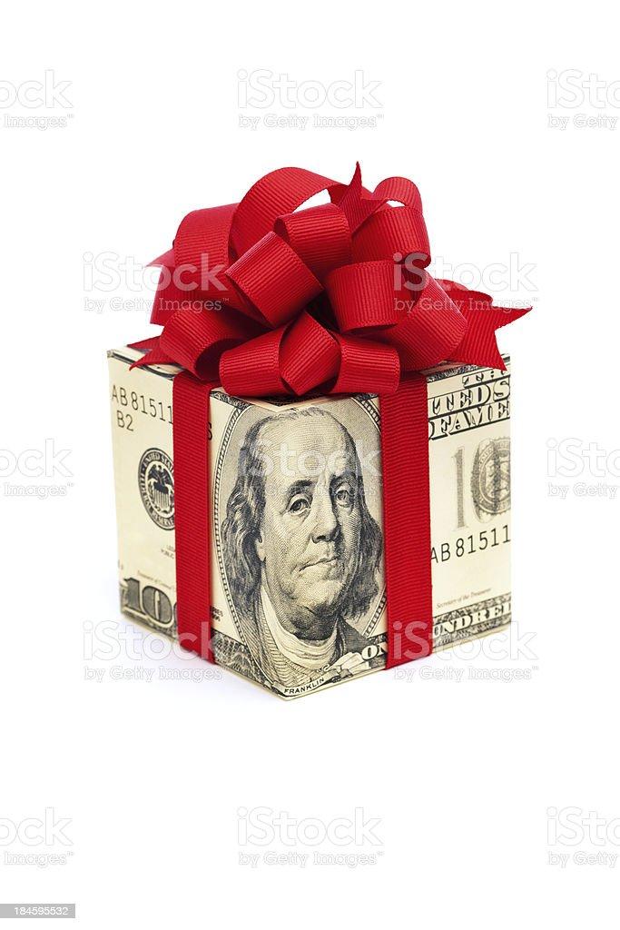 One Hundred Dollar Bill Money Gift Box on White Background royalty-free stock photo