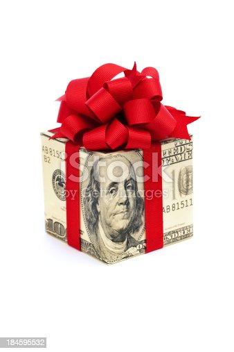 one hundred dollar bill money gift box on white background stock
