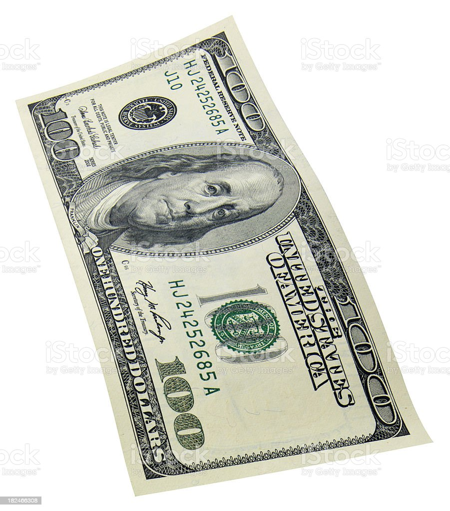 One Hundred dollar bill on white royalty-free stock photo