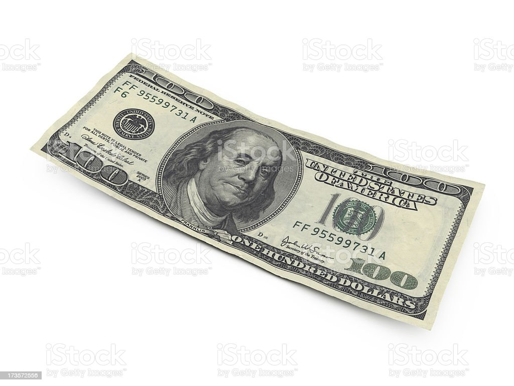 one hundred dollar bill royalty-free stock photo