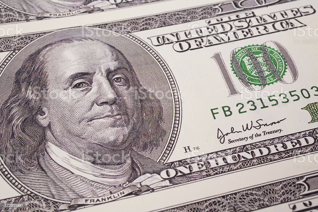 One Hundred Dollar Bill Upclose royalty-free stock photo