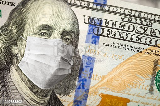 istock One Hundred Dollar Bill With Medical Face Mask on George Washington 1210633302