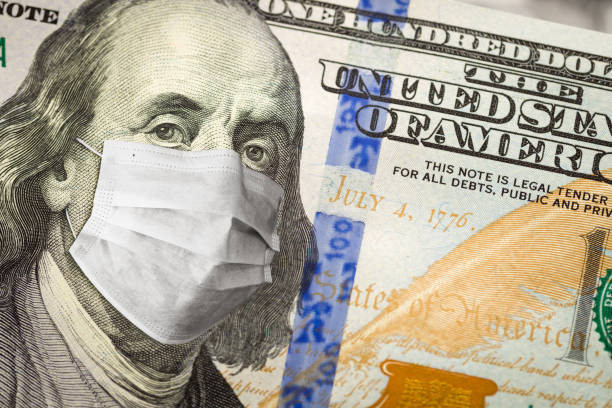 One Hundred Dollar Bill With Medical Face Mask on George Washington One Hundred Dollar Bill With Medical Face Mask on George Washington. ambiguity stock pictures, royalty-free photos & images