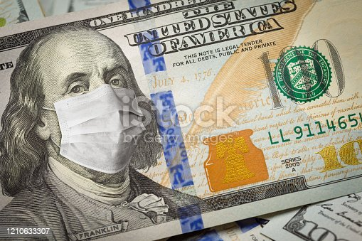 istock One Hundred Dollar Bill With Medical Face Mask on George Washington 1210633307