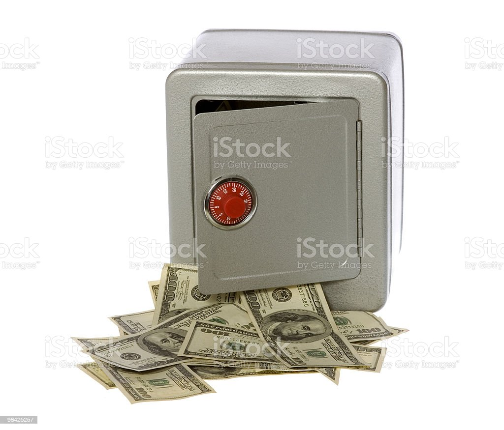 One Hundred Dollar Bills Coming Out of an open  Safe royalty-free stock photo