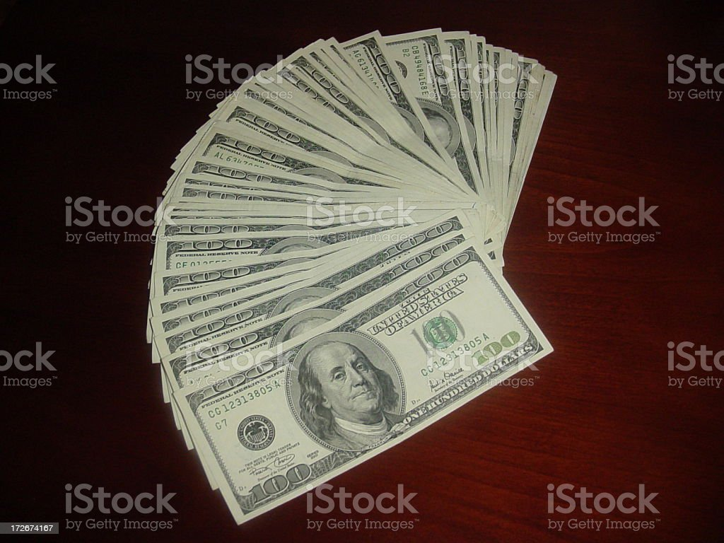 One Hundred Dollar Bills Fanned royalty-free stock photo