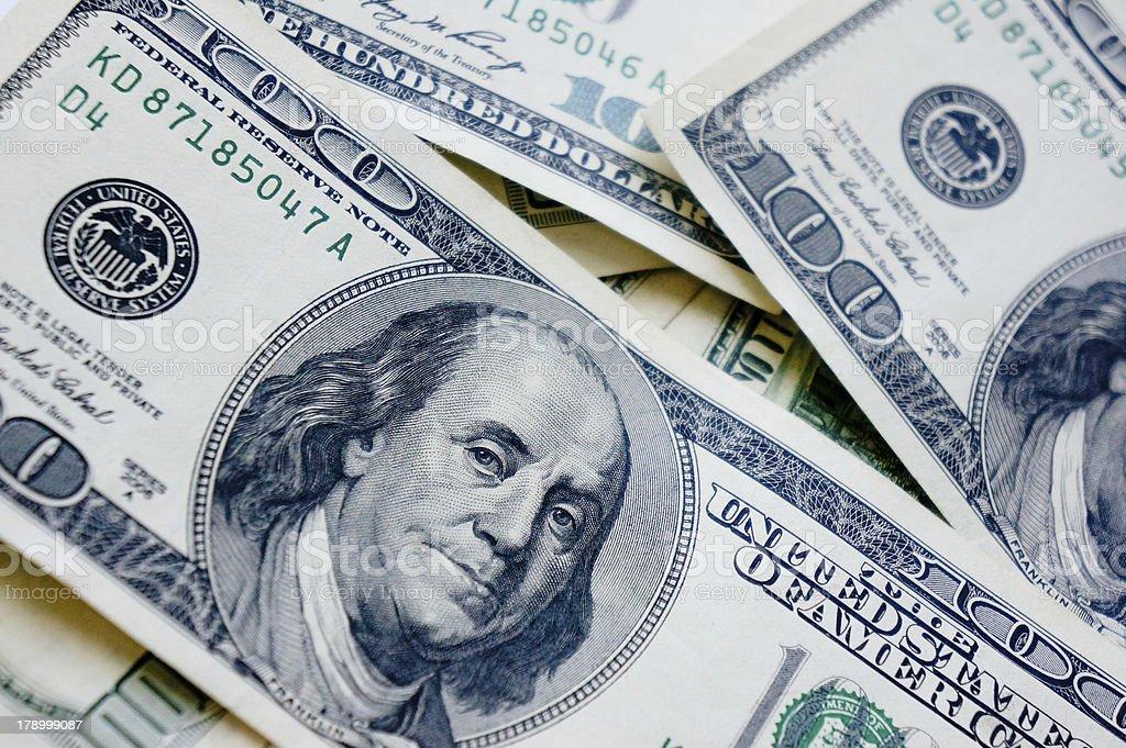One hundred dollar bills money pile royalty-free stock photo