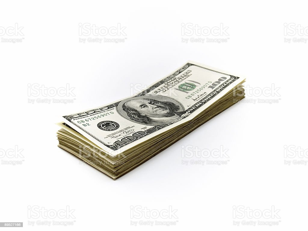 One Hundred Dollar Bills over white 免版稅 stock photo