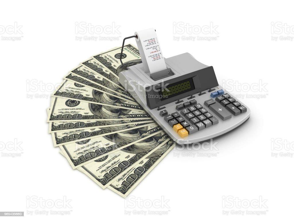 One Hundred Dollar Bills with Adding Machine Tape Calculator - 3D Rendering zbiór zdjęć royalty-free
