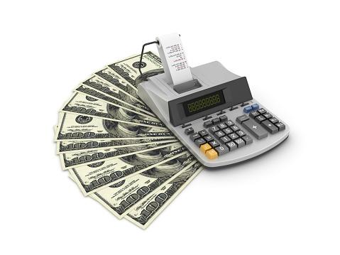기계 추가 1 백 달러 지폐 테이프 계산기3d 렌더링 100 달러 지폐-미국 지폐 통화에 대한 스톡 사진 및 기타 이미지
