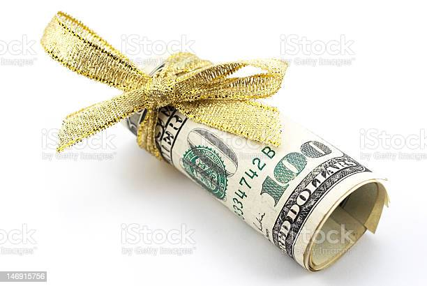 One Hundred Dollar Bills With Gold Ribbon Stock Photo - Download Image Now