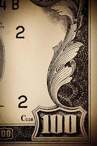 banconota da cento dollari di denaro scorrimento - acquaforte foto e immagini stock