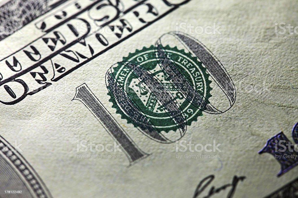 One hundred dollar. royalty-free stock photo