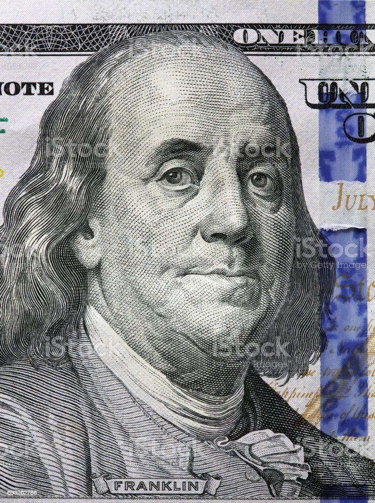 One Hundred Dollars. Benjamin Franklin portrait stock photo