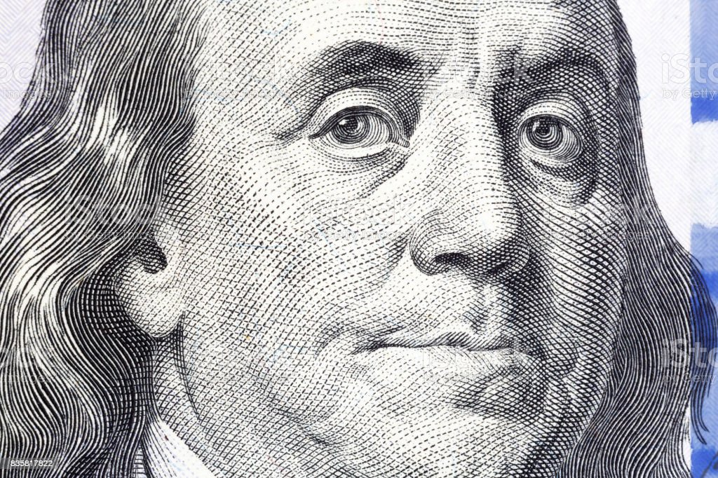 One Hundred Dollars. Benjamin Franklin portrait. USD, The United stock photo