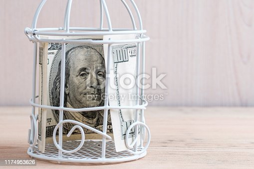 istock one hundred dollars in a cage on a wooden 1174953626
