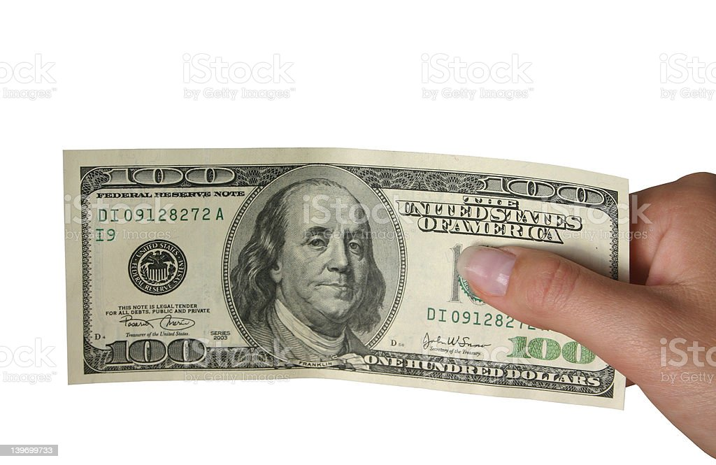 One hundred dollars - isolated royalty-free stock photo