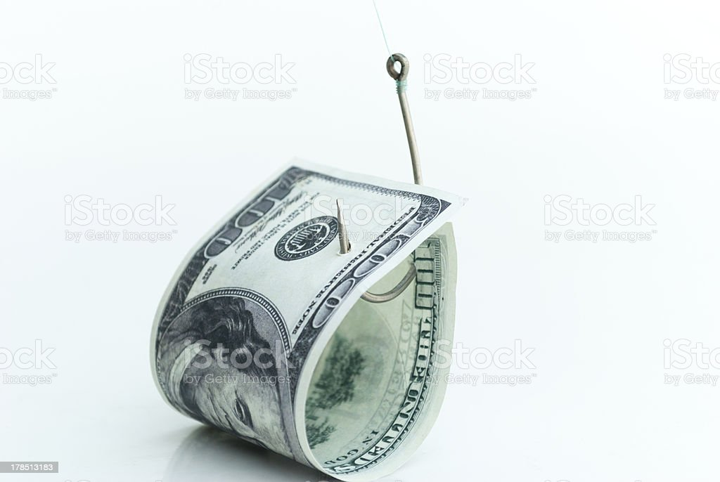One hundred dollars on a hook royalty-free stock photo