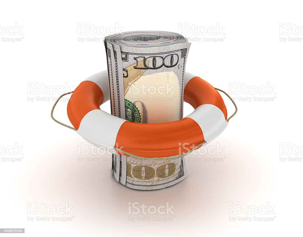One Hundred Dollars Roll with Life Belt stock photo