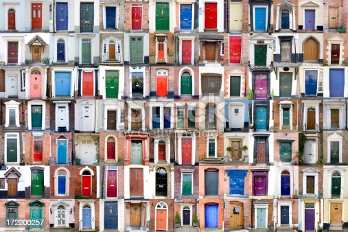 One hundred colourful wooden doors of Worcestershire and Shropshire, UK. 98 individual photos (96 of one door and 2 of two doors).