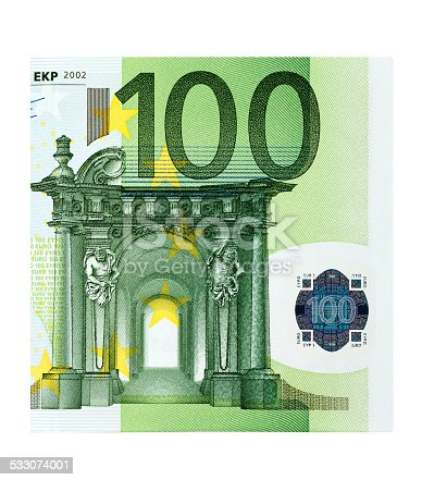 Macro of One Hundred Euro Banknote on white background.