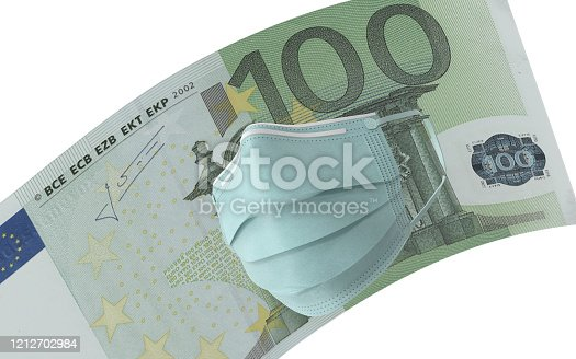 One Hundred Euro banknote with surgical mask. Protection from Coronavirus on economy. High resolution image for all crop sizes. White background.