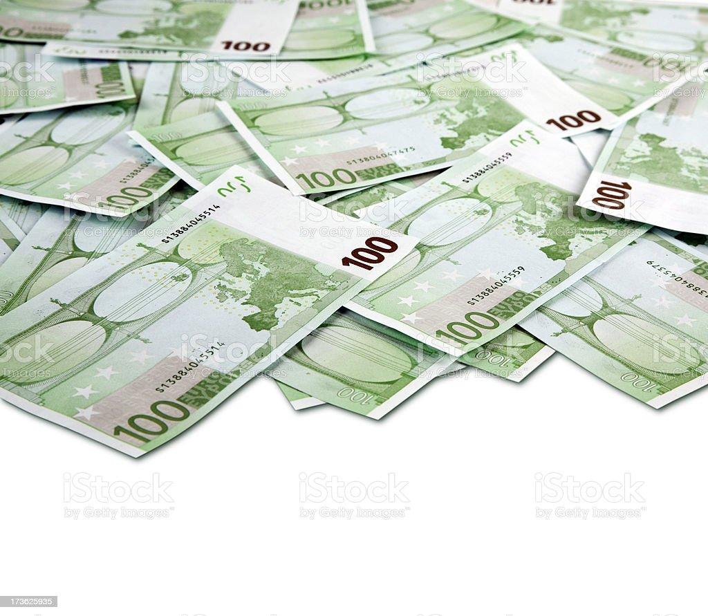 One hundred euro bills royalty-free stock photo