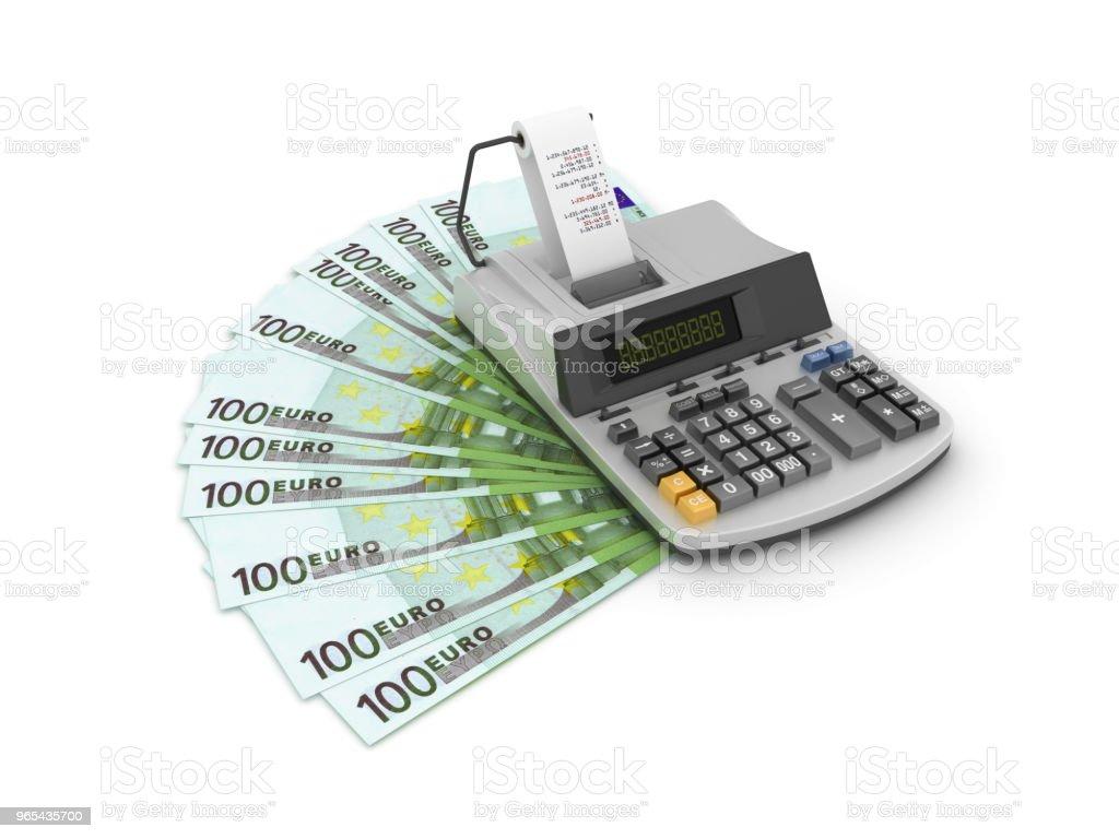 One Hundred Euro Bills with Adding Machine Tape Calculator - 3D Rendering zbiór zdjęć royalty-free