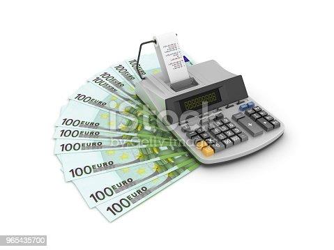 One Hundred Euro Bills With Adding Machine Tape Calculator 3d Rendering - Stockowe zdjęcia i więcej obrazów Artykuł biurowy