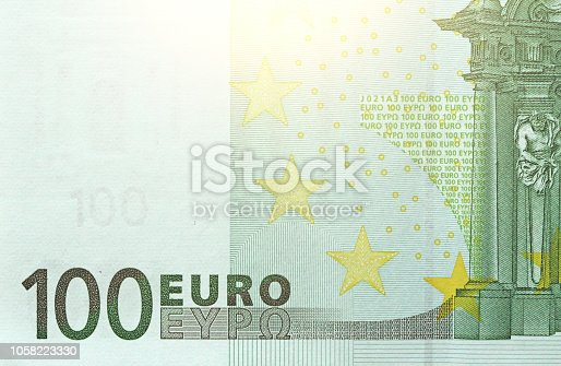 One Hundred Euro With One Note. 100 Euro.