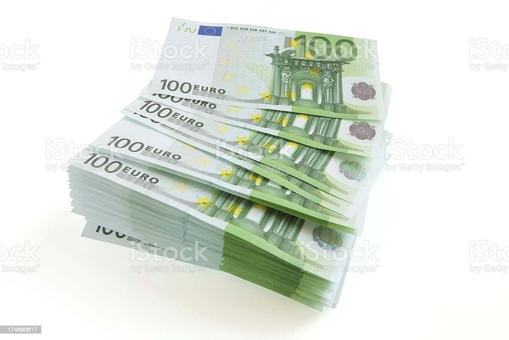 One hundred euros currency stack royalty-free stock photo