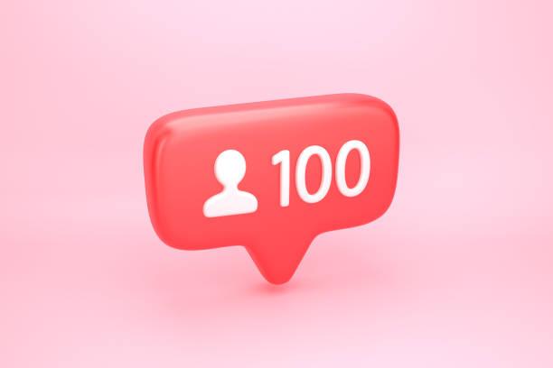 hundert freunde oder anhänger-social-media-benachrichtigung mit herz-symbol - nummer 100 stock-fotos und bilder