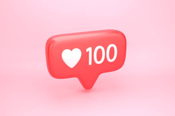One hundred likes social media notification with heart icon One hundred likes social media notification icon with heart symbol and number 100 on like counter. 3D illustration adulation stock pictures, royalty-free photos & images