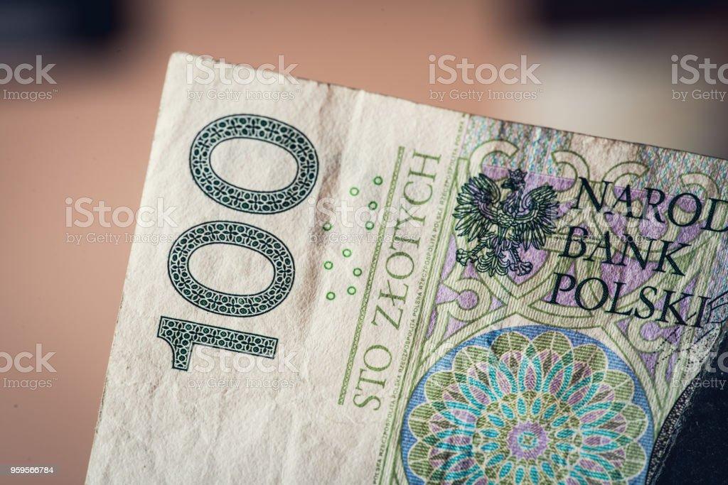 One hundred of polish zloty stock photo