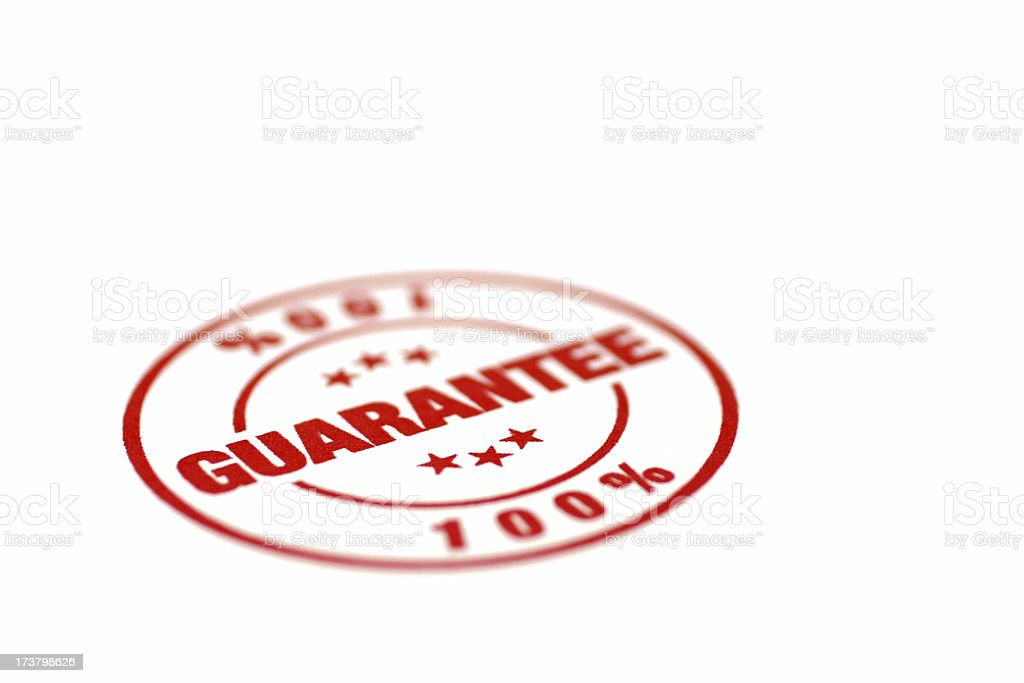 One Hundred Percent Guarantee royalty-free stock photo