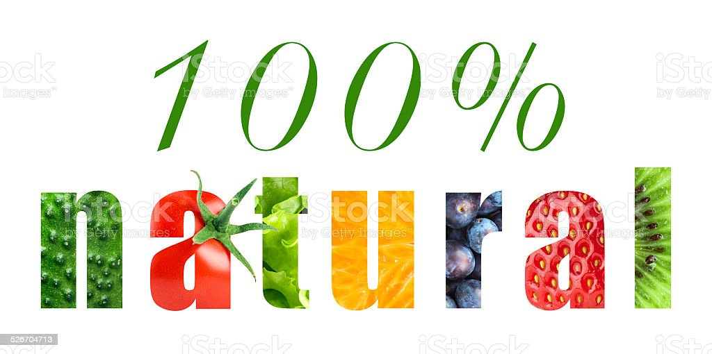 One hundred percent natural food concept stock photo