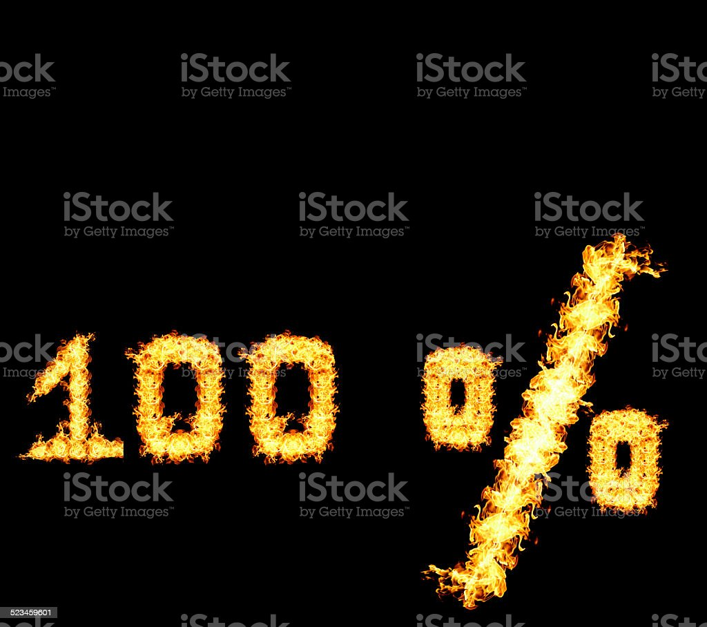 One hundred percent of the red flame stock photo