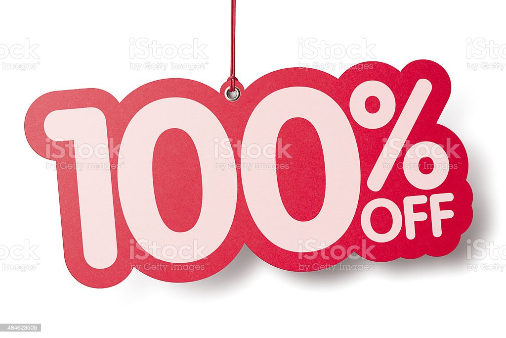 One hundred percent off shaped price label royalty-free stock photo