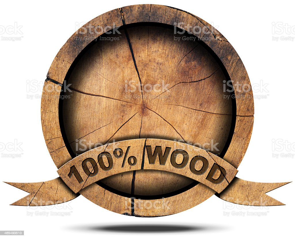 One hundred percent Wood - Wooden Icon stock photo