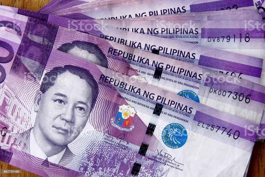 One Hundred Philippine Peso Bills stock photo