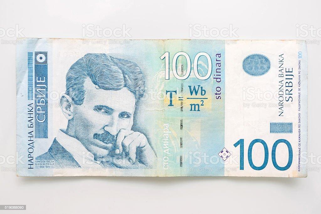 hundert serbische dinar rechnung stockfoto und mehr bilder. Black Bedroom Furniture Sets. Home Design Ideas