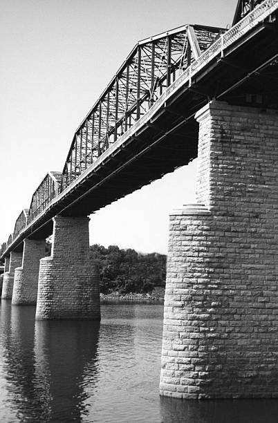 One Hundred Year Old Bridge in Black and White stock photo