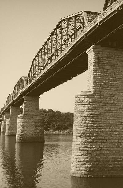 One Hundred Year Old Bridge in Sepia stock photo