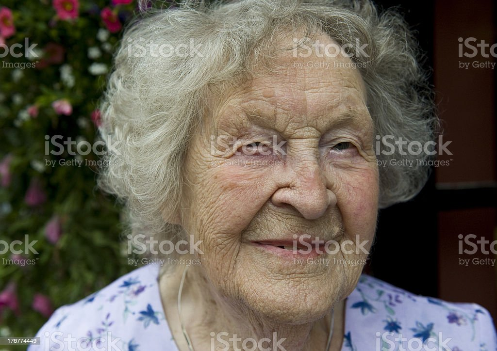 One hundred years old female. royalty-free stock photo
